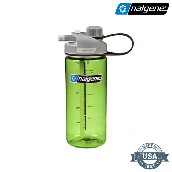 'Nalgene® Multi Drink 0.63 lt - Color spring green bottle with gray cap